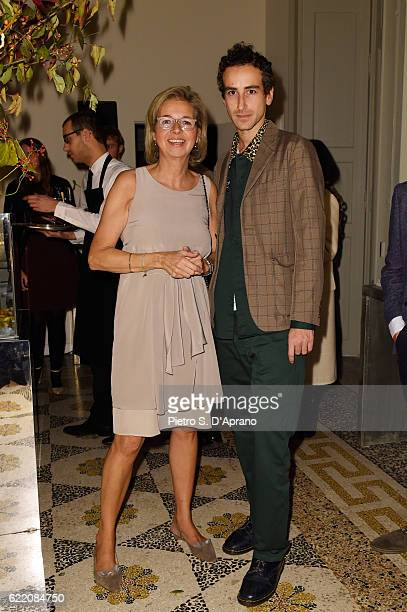 Inga Griese and Francesco Risso attend the ICON 10 anniversary cocktail canapes party at Palazzo Cagnola on November 9 2016 in Milan Italy