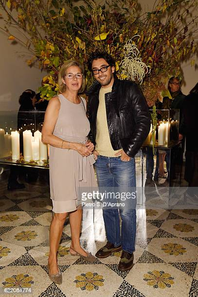 Inga Griese and Lorenzo Serafini attend the ICON 10 anniversary cocktail canapes party at Palazzo Cagnola on November 9 2016 in Milan Italy