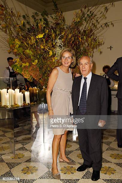 Inga Griese and Mr Vita attends the ICON 10 anniversary cocktail canapes party at Palazzo Cagnola on November 9 2016 in Milan Italy