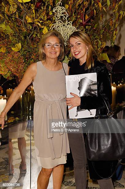 Inga Griese and Sara Nosrati attend the ICON 10 anniversary cocktail canapes party at Palazzo Cagnola on November 9 2016 in Milan Italy