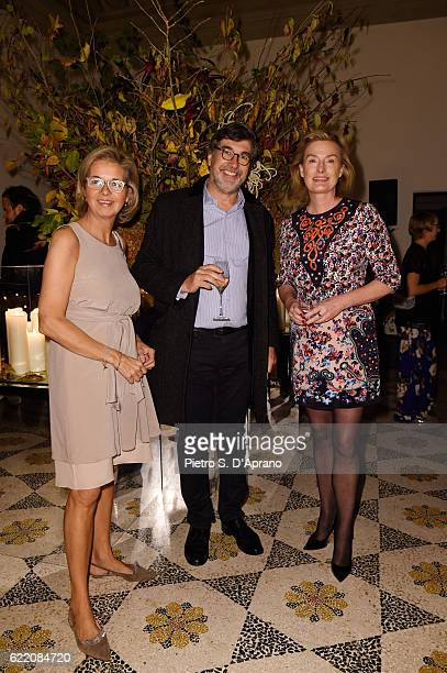 Inga Griese John Hooks and Carola Curio attend the ICON 10 anniversary cocktail canapes party at Palazzo Cagnola on November 9 2016 in Milan Italy