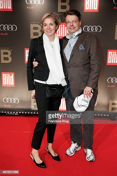 Inga GrieseSchwenkow and her husband Peter Schwenkow attend the Bild 'Place to B' Party on February 07 2015 in Berlin Germany