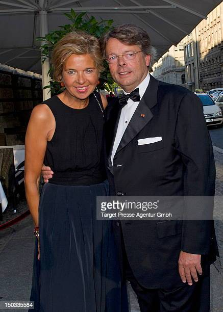 Inga GrieseSchwenkow and her husband Peter Schwenkow attend the celebration of the 70th birthday of Friede Springer at the restaurant 'Gendarmarie'...