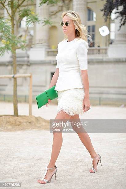 Inga Kozel wears a Josef Statkus dress before the Chanel show at the Grand Palais on July 7 2015 in Paris France
