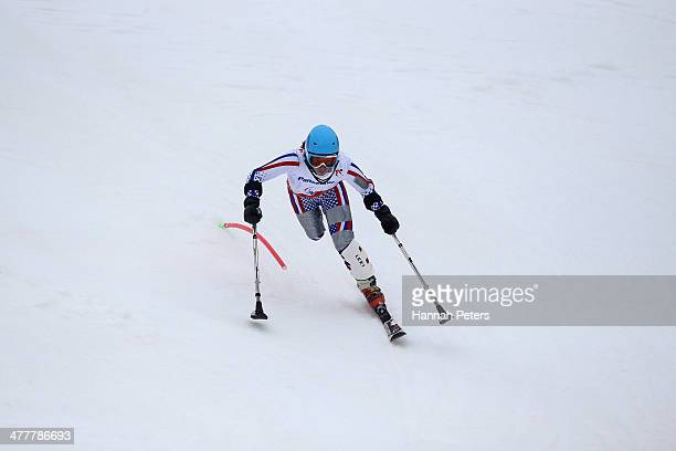 Inga Medvedeva of Russia competes in the Women's SC Slalom Run 1 Standing during day four of Sochi 2014 Paralympic Winter Games at Rosa Khutor Alpine...