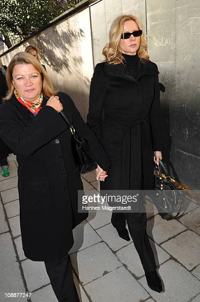Inga Pudenz and Veronica Ferres attend the memorial service for Bernd Eichinger at the St Michael Kirche on February 07 2011 in Munich Germany...