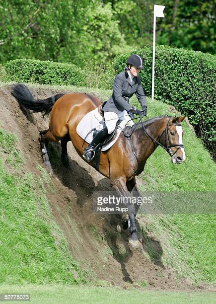 Inga Rauert of Germany jumps on her horse Lerano during the 76. German Jumping-Derby 2005 of the German Jumping and Dressage Grand Prix at the Derby...