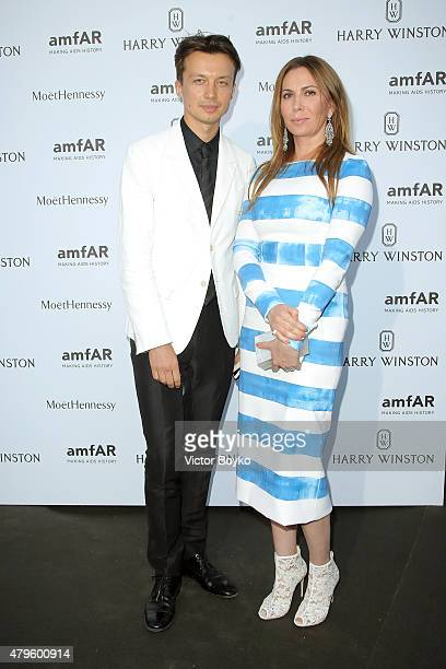Inga Rubenstein and German Larkin attend the amfAR dinner at the Pavillon LeDoyen during the Paris Fashion Week Haute Couture on July 5 2015 in Paris...