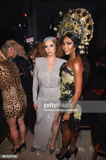 Inga Rubenstein and Naomi Campbell attends the 2017 amfAR The Naked Heart Foundation Fabulous Fund Fair at Skylight Clarkson Sq on October 28 2017 in...