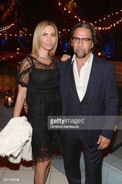 Inga Rubenstein and photographer Sante D'Orazio attend a dinner and auction hosted by CHANEL to benefit the Henry Street Settlement at Soho Beach...