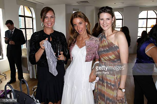 Inga Rubenstein Dori Cooperman and Lizzie Tish pose at the Victoria's Secret Fashion Week Suite at Bryant Park Hotel on September 15 2009 in New York...