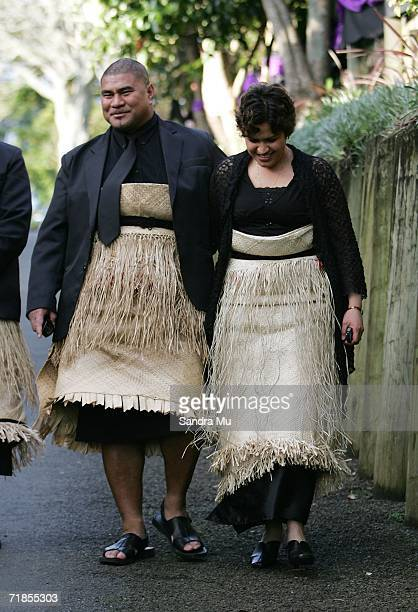 Inga Tuigamala and his wife Daphne leave the residence of the Late King of Tonga Taufa'ahau Tupou IV after paying their respects, September 12, 2006...