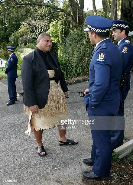 Inga Tuigamala talks to Police at the gate after paying his respects to the Late King of Tonga Taufa'ahau Tupou IV, September 12, 2006 in Auckland...
