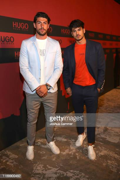 Ingazio Moser and Luca Daffre at the HUGO Launch Party with live performance by Liam Payne at Wriezener Karree on July 03 2019 in Berlin Germany