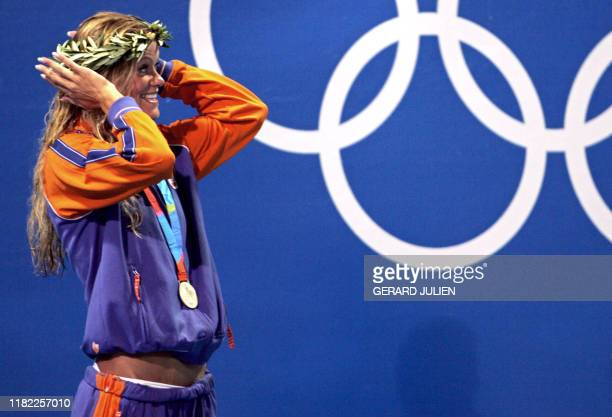 Inge de Bruijn from Netherlands pose after winning the women freestyle silver medal at the 2004 Olympic Games at the Olympic Aquatic Center in Athens...