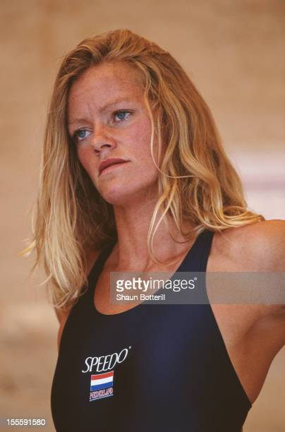 Inge de Bruijn of the Netherlands prepares for the Women's 50 metre Freestyle event on 28th July 1999 during the European Aquatics Championships at...