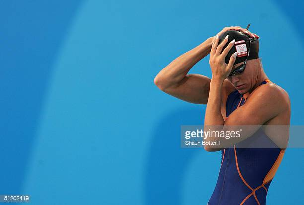 Inge de Bruijn of the Netherlands prepares to swim in the women's swimming 50 metre freestyle final on August 21 2004 during the Athens 2004 Summer...