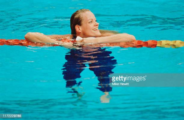 Inge de Bruijn of the Netherlands wins gold in the Women's 100m Freestyle Final competition on 21st September 2000 during the XXVII Olympic Summer...