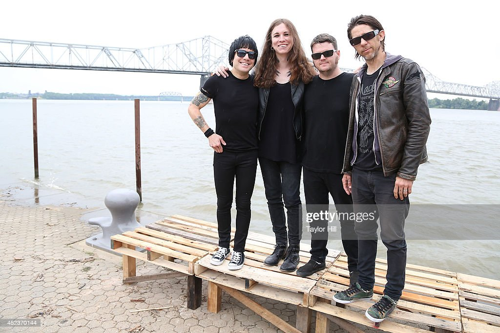 Inge Johansson, Laura Jane Grace, James Bowman, and Atom Willard of Against Me! pose for a portrait during the 2014 Forecastle Music Festival at Louisville Waterfront Park on July 18, 2014 in Louisville, Kentucky.