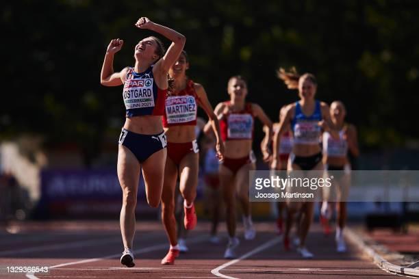 Ingeborg Ostgard of Norway celebrates in the Women's 1500m Final during European Athletics U20 Championships Day 4 at Kadriorg Stadium on July 18,...