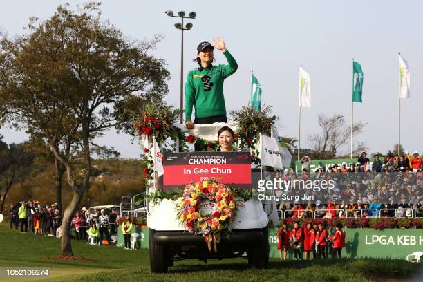 In-Gee Chun of South Korea arrives for the winner's ceremony for the LPGA KEB Hana Bank Championship at Sky 72 Golf Club on October 14, 2018 in...