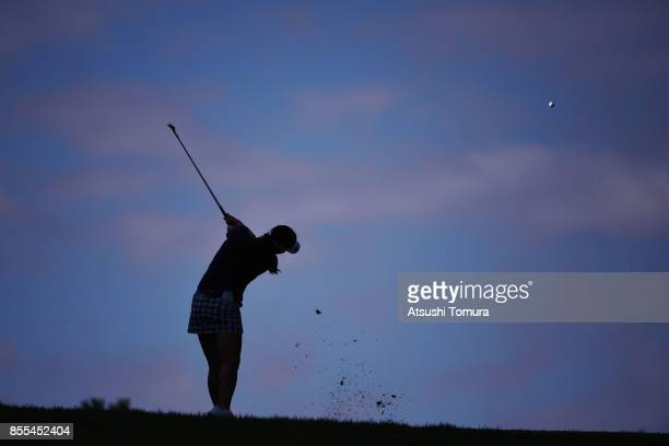 InGee Chun of South Korea hits her third shot on the 15th hole during the second round of Japan Women's Open 2017 at the Abiko Golf Club on September...