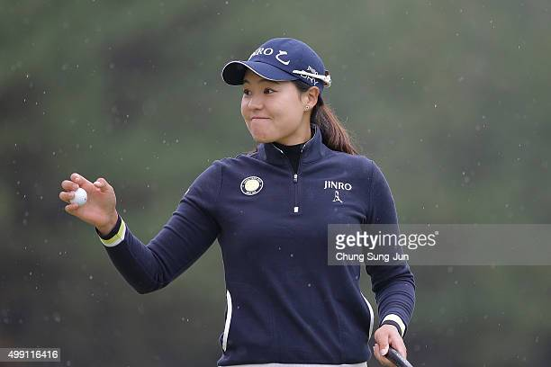 InGee Chun of South Korea reacts after a putt on the 13th green during the final round of the LPGA Tour Championship Ricoh Cup 2015 at the Miyazaki...