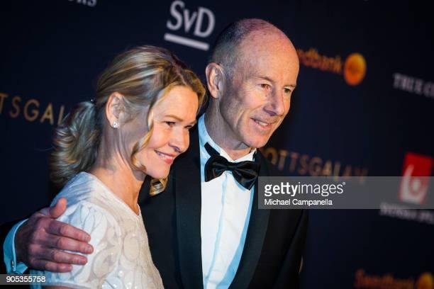 Ingemar Stenmark and wife Tarja Stenmark walk the red carpet at Idrottsgalan the annual Swedish sports awards gala held at the Ericsson Globe Arena...