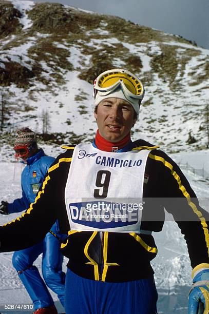 Ingemar Stenmark at a competition on Mount Marmolada in the Dolomites of northern Italy | Location Mount Marmolada northern Italy