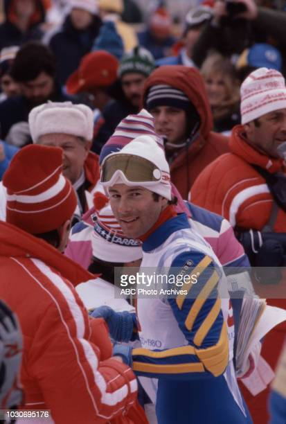Ingemar Stenmark competing in the Men's skiing event at the 1980 Winter Olympics / XIII Olympic Winter Games Olympic Center