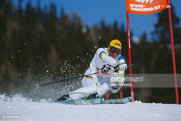 Ingemar Stenmark from Sweden during the men's Giant Slalom of the 1987 World Championships