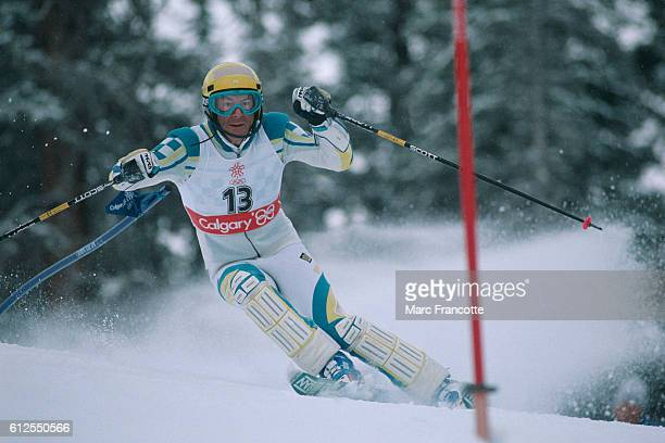 Ingemar Stenmark from Sweden during the men's Slalom of the 1988 Winter Olympics