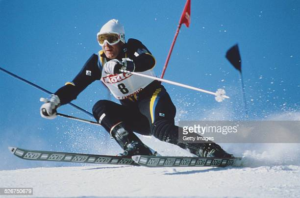 Ingemar Stenmark of Sweden during the International Ski Federation mens Giant Slalom at the Alpine Skiing World Cup event on 13 December 1977 in...