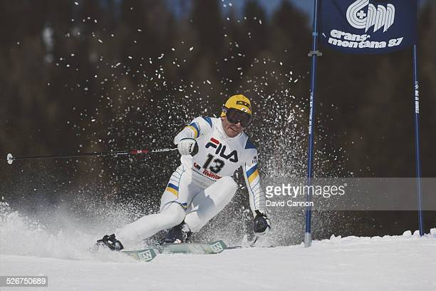 Ingemar Stenmark of Sweden during the International Ski Federation Men's Giant Slalom at the Alpine Skiing World Cup event on 4 February 1987 in...