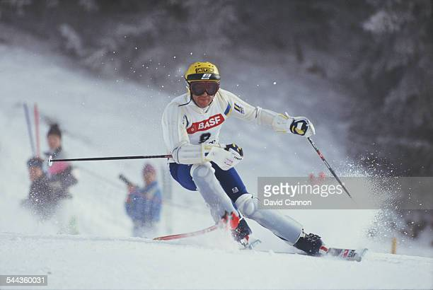 Ingemar Stenmark of Sweden during the International Ski Federation Men's Slalom at the FIS Alpine World Ski Championship on 8 February 1987 in Crans...