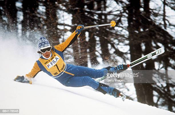Ingemar Stenmark of Sweden falls while skiing in the Men's Slalom event at the International Ski Federation FIS Alpine Skiing World Cup on 8 December...