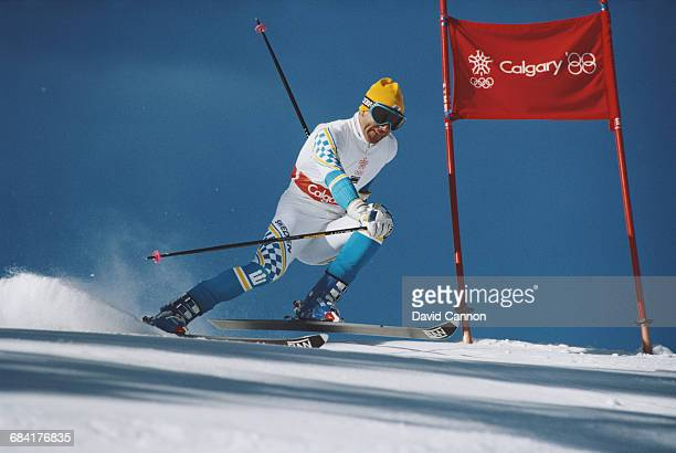 Ingemar Stenmark of Sweden skiing in the Men's Giant Slalom event on 25 February 1988 during the XV Olympic Winter Games in Nakiska Calgary Alberta...