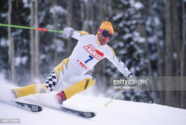 Ingemar Stenmark of Sweden skis in the Giant Slalom event of the FIS Alpine World Ski Championships on February 9 1989 in Vail Colorado