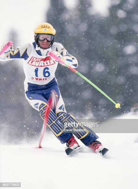 Ingemar Stenmark of Sweden skis in the Slalom event of the FIS Alpine World Ski Championships on February 12 1989 in Vail Colorado
