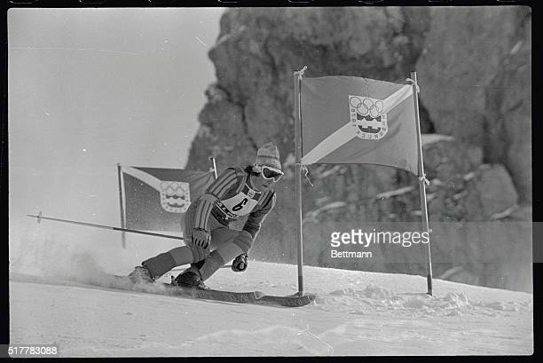 Ingemar Stenmark of Sweden the favorite to win the Olympic Men's Giant attacks the gates on the course 2/10 on his way to a third place finish
