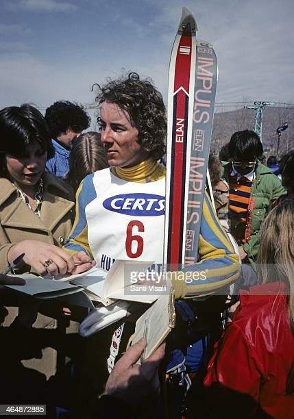 Ingemar Stenmark signing autographs on March 26 1976 in Hunter Mountain New York