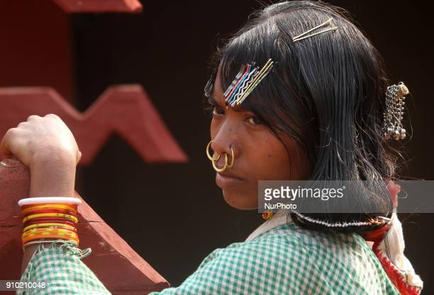 Ingenious Dongria caste tribal girls wears their traditional ornaments as they look near to their temporary traditional makeshifts and busy to...