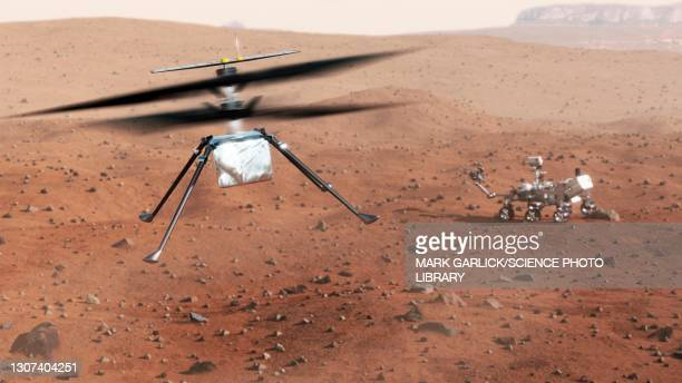 ingenuity rotorcraft on mars - helicopter stock pictures, royalty-free photos & images