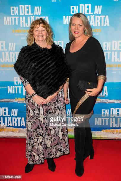 Inger Nilsson and guest pose for a picture on the red carpet during the premiere for A Piece Of My Heart at the Rigoletto cinema on December 16 2019...