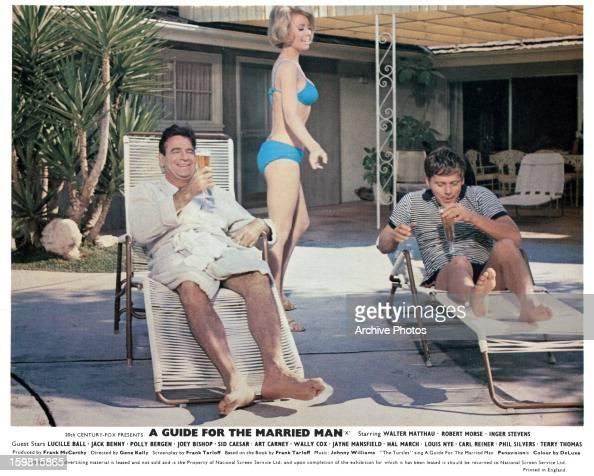 Inger Stevens Walking By In A Bikini Behind Two Men