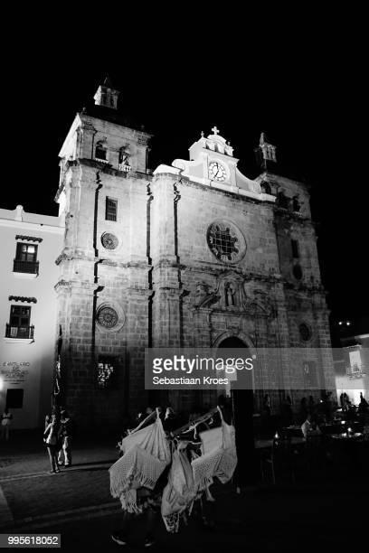 Inglesia de San Pedro Claver, Church in Black and White, Night, Cartagena, Colombia