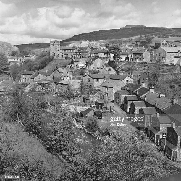 Ingleton Village Yorkshire with Ingleborough beyond circa 1950 Original Publication Picture Post 7862 Ingleton Village unpub