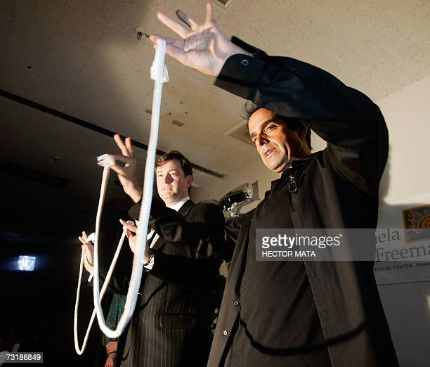 Entertainer David Copperfield performs magic tricks in front of an audience of magicians physical therapists and patients at the Centinela Freeman...