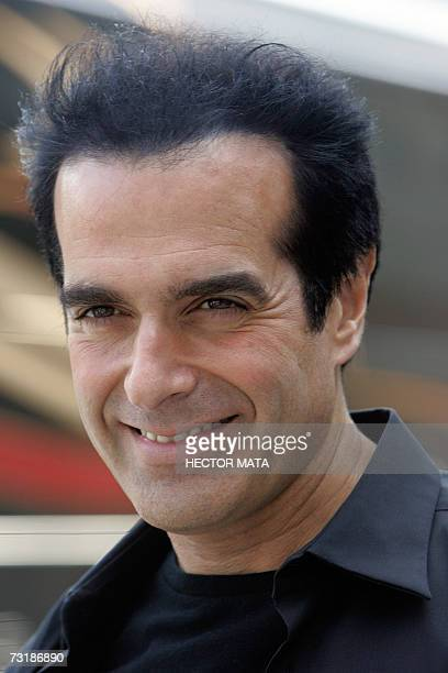 Entertainer David Copperfield stands for a photogrpah as he arrives to deliver a speech to an audience of magicians physical therapists and patients...