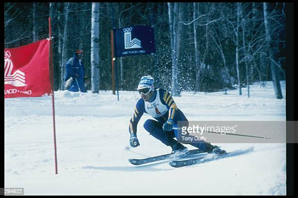 Ingmar Stenmark of Sweden during the downhill skiing competition at the Olympic Games in Lake Placid, New York. Mandatory Credit: Tony Duffy /Allsport